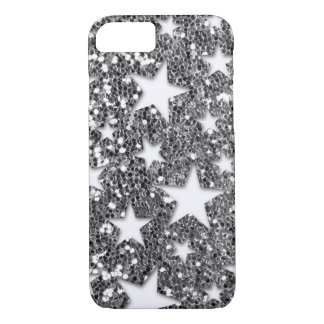 White Stars on Silver Glitter Look iPhone 7 Case