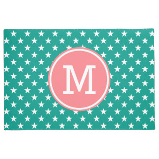 White Stars on Turquoise with Coral Pink Monogram Doormat
