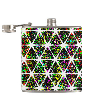 White Stars Pattern Hip Flask