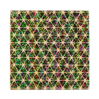 White Stars Pattern Wood Coaster