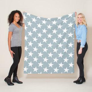 White Stars Petrol Color Design Star Modern Trendy Fleece Blanket