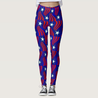 White Stars, Red Stripes and Blue Background Pants
