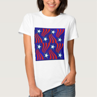 White Stars, Red Stripes and Blue Background T Shirts