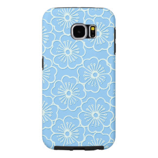White stencil hibiscus floral samsung galaxy s6 cases