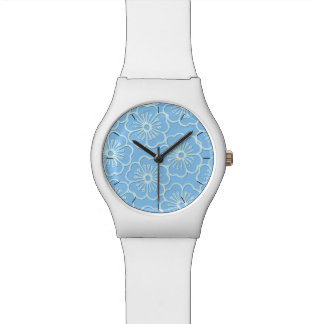 White stencil hibiscus floral watch