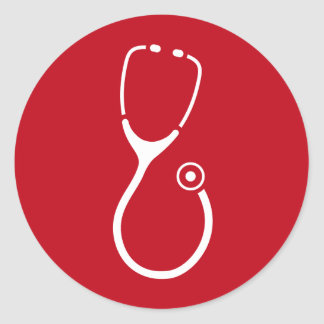 White stethoscope logo on red doctor ER sticker