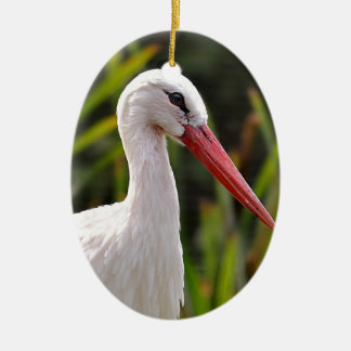 White stork among vegetation ceramic ornament