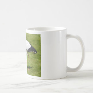 White stork on grass coffee mug