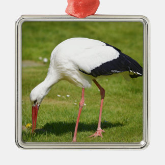 White stork on grass metal ornament