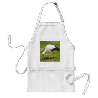 White stork on grass standard apron