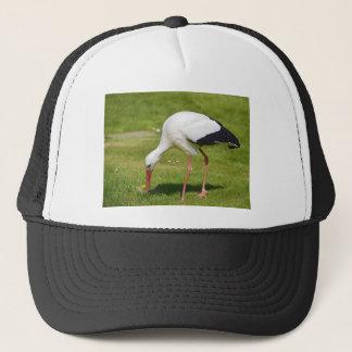 White stork on grass trucker hat