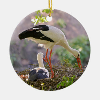 White storks on its nest ceramic ornament