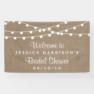 White String Lights On Rustic Burlap Bridal Shower