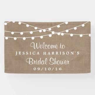 White String Lights On Rustic Burlap Bridal Shower