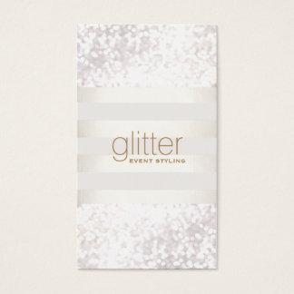 White Striped Bokeh Glitter Business Card