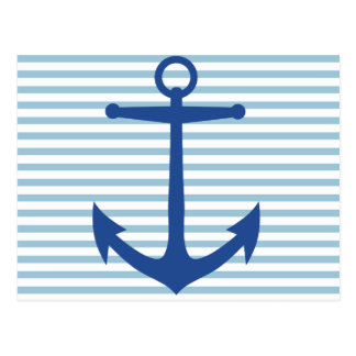 White Stripes and Anchor Custom Postcard