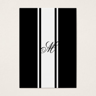 White Stripes and Monogram Business Card