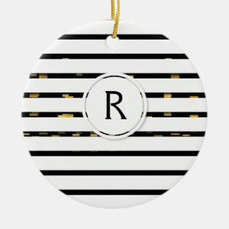 "White Stripes ""faux 3D"" Monogram | Ornament"