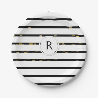 "White Stripes ""faux 3D"" Monogram | Paper Plate"