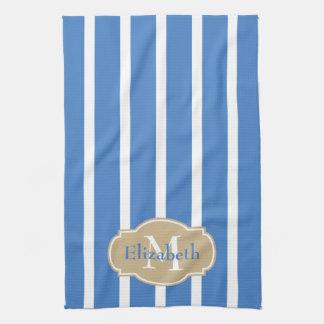 White Stripes on Coastal Blue Monogram Tea Towel