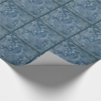 White stripes on grunge textured blue tiled paper