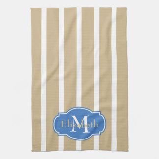 White Stripes on Sand Monogram Tea Towel