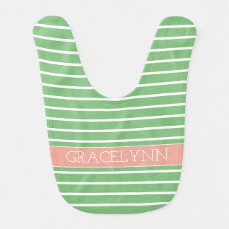 White Stripes on Sweet Spring Green With Pink Bib