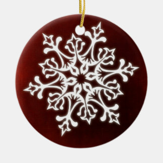 White Stylish Snowflake on Dark Red Ceramic Ornament