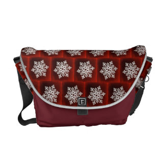 White Stylish Snowflake on Dark Red Courier Bag