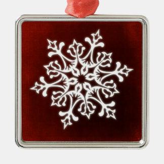 White Stylish Snowflake on Dark Red Metal Ornament