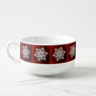 White Stylish Snowflake on Dark Red Soup Mug