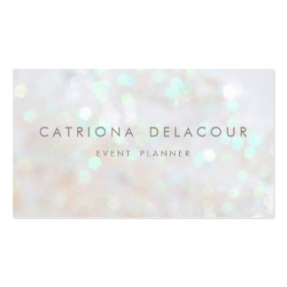 White Subtle Glitter Bokeh Business Card