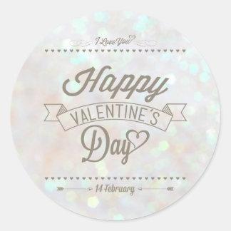 White Subtle Glitter Bokeh Valentine s Day Sticker
