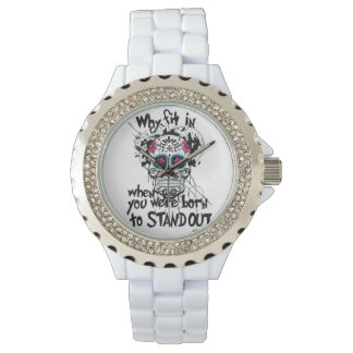 White Sugar Skull Bling Watch