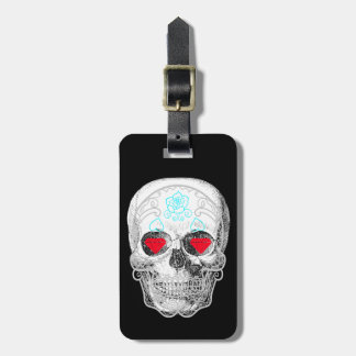 White Sugar Skull Luggage Tag
