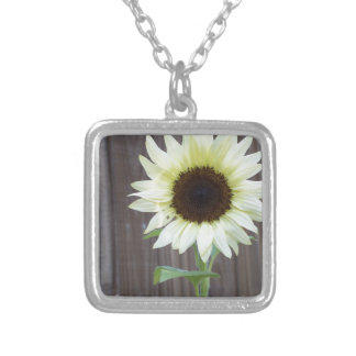 White sunflower against a weathered fence silver plated necklace