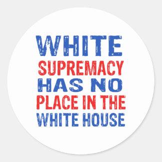 white supremacy design classic round sticker