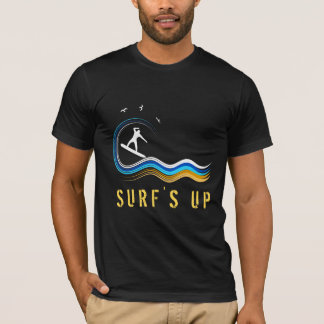 White Surfer Silhouette Surfing Abstract Surf Wave T-Shirt