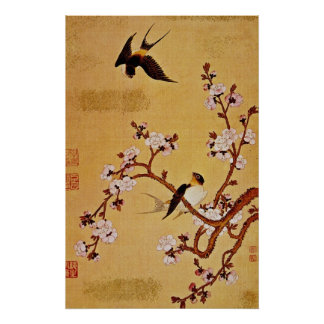 white Swallows and Flowering Branches, Chiang T'in Poster