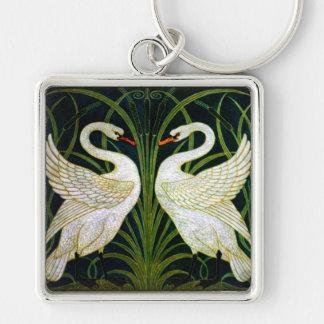 White Swan Art Nouveau Keychain