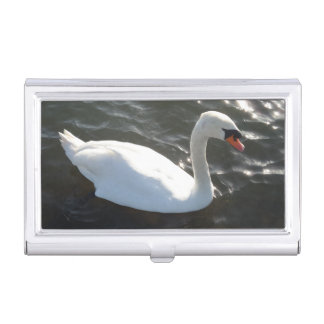 White Swan Business Card Holder