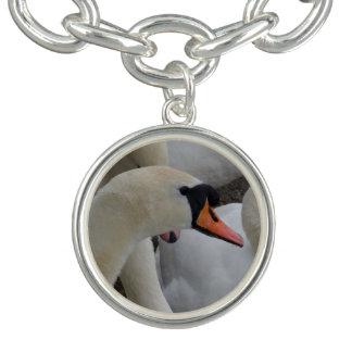 White Swan Charm Bracelet, Silver Plated