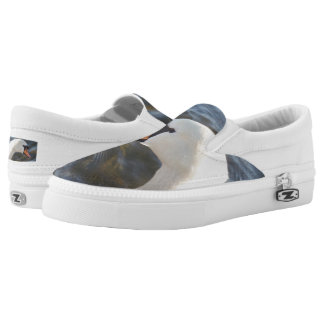 White Swan Custom Zipz Slip On Shoes,  Men & Women Printed Shoes