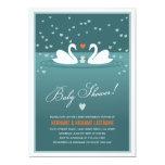 White Swan Family Couples Baby Shower Invite