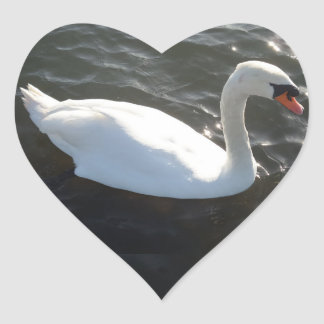 White Swan Heart Sticker