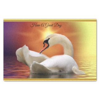 White Swan in a lake with a orange gold sunset Tissue Paper