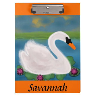 White Swan in Pond with Lily Pads Clipboard