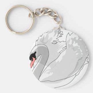 white swan key ring