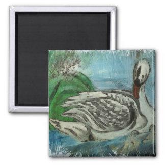 White swan fridge magnet