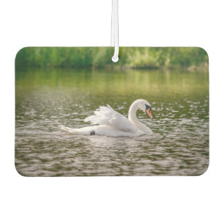 White swan on a lake car air freshener